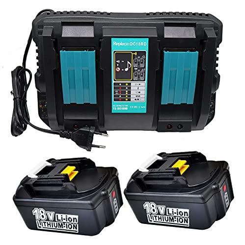 GOLEMON Cargador Dual DC18RD + 2 Batería 4Ah BL1840B DC18RA DC18RC para Makita BL1830 BL1850B BL1850B para radio Makita DMR100 DMR101 DMR102 DMR104 DMR105 DMR108 BML184