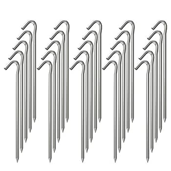 OK5STAR 25 Pack 9 Inch Galvanized Tent Stakes Metal Tent Pegs Heavy Duty Steel Yard Camping Stakes Tarp Hooks Inflatables Outdoor Decorations