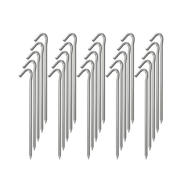 OK5STAR 9 Inch Galvanized Tent Stakes Metal Tent Pegs, Heavy Duty Steel Yard Camping Stakes Tarp Hooks Inflatables…