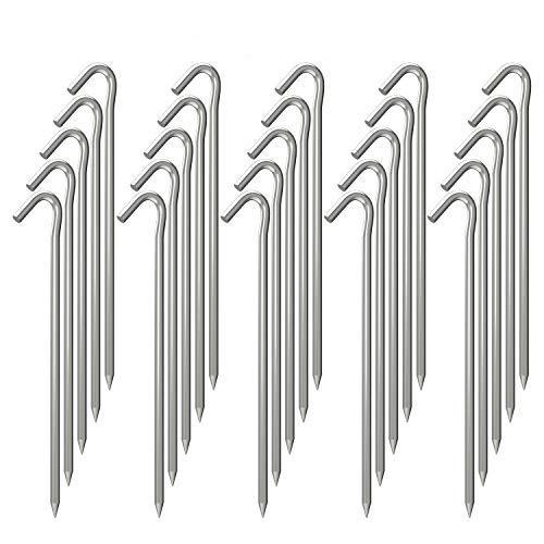 OK5STAR Juego de 25 estacas galvanizadas para tienda de campaña de metal, estacas de acero resistente para patio, camping, ganchos inflables para decoración al aire libre