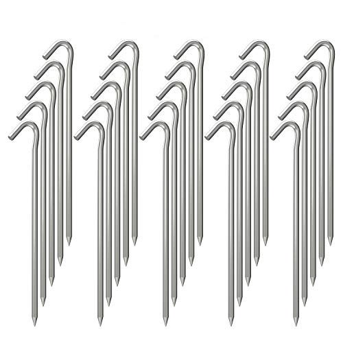 OK5STAR 9 Inch Galvanized Tent Stakes Metal Tent Pegs, Heavy Duty Steel Yard Camping Stakes Tarp Hooks Inflatables Outdoor Decorations, 25 Pack
