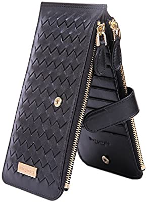 Genuine Leather Wallet for Women Credit Card Holder Wallets Zipper Purse with RFID Blocking Woven