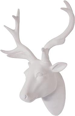 Animal Head Wall Art, Deer head Wall Decor, White Fake Furry/Felt/Velvety Resin Deer Head With White Antlers For Wall Mount D