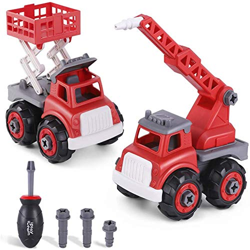 Izzya Assembled Fire Truck Toys Play Set, Water Tower & Fire Lift Truck, Learning Building Vehicles W/Screwdriver, DIY Gift for Aged 3 4 5 6 Kids