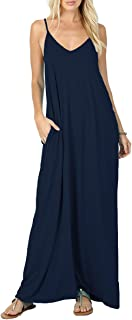 VIISHOW Women's Summer Casual Plain Flowy Pockets Loose Beach Cami Maxi Dresses