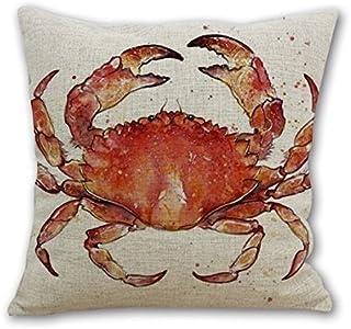 Leaveland Red Crab Sea Ocean Marine Animal 18×18 Inch Cotton Linen Square Throw..