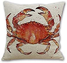 Leaveland Red Crab Sea Ocean Marine Animal 18x18 Inch Cotton Linen Square Throw Pillow Case Decorative Durable Encasement Cushion Slipcover Home Decor Standard Size Pillowcase