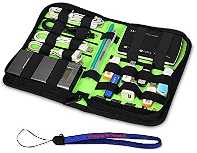Nylon Fabric Storage Holder/Wallet/Case/Bag/Organizer for USB Flash Drives/Thumb Drives/Pen Drives/Jump Drives & HDD/Power Bank/SD Card/Ipod/Cell Phone W/ Everything But Stromboli (tm) Lanyard by HanveL & Everything But Stromboli