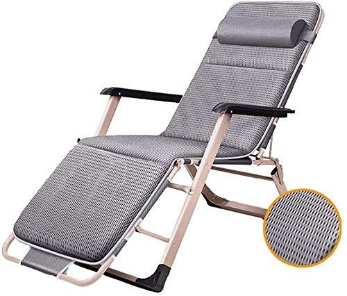 DFANCE Silla reclinable ligera de jardín en el hogar y la cocina, tumbona plegable con cojines de gravedad cero, silla de playa plegable (color: gris) (color: gris) (color: gris)