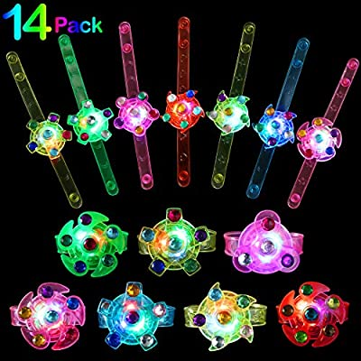 wellvo Party Favors for Kids 14 Pack Light Up Bracelets Glow in The Dark Party Supplies Girls Boys Kid Birthday Goodie Bags Return Gifts Halloween Christmas Party Favor LED Fidget Toys Bulk