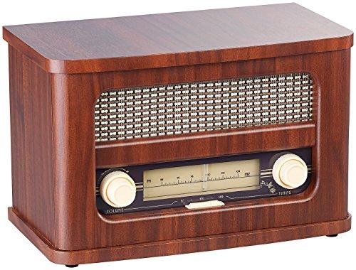 auvisio Nostalgie Radio Stereo-FM-Radio 12W, Holz, Akku, Bluetooth, USB Ladeport (Retro Radio)