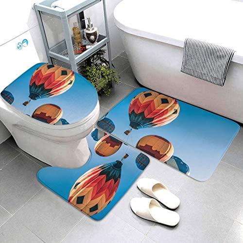 SDINAZ Alfombrillas de baño Set 3 Piezas Antideslizantes Lavables Alfombras de baño Moquetas Globo
