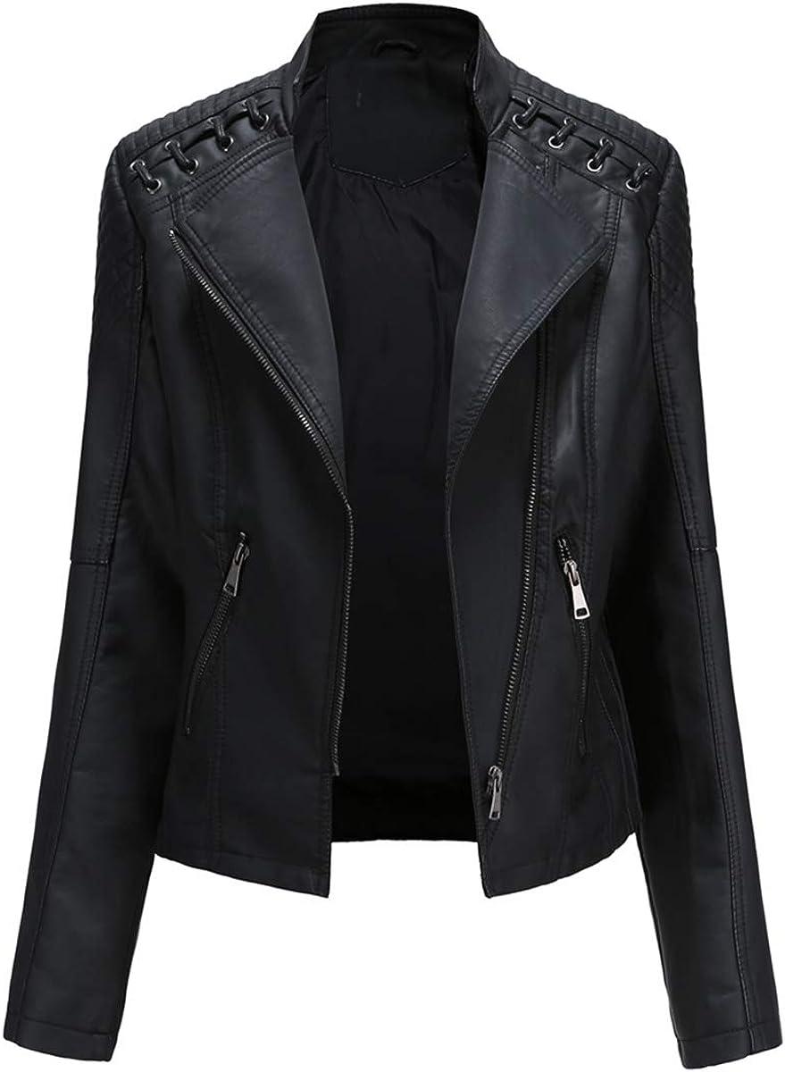 Women's Faux Leather Biker Jacket Zip Up Short Moto Outerwear