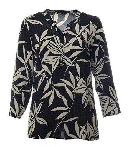 No Secret Schwarze Tunika Langarm Blumen Bluse schwarz Gemustert große Größe Damen A-Linie lang 3/4 Arm Schwarz Viskose, Größe:44