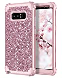 Hekodonk Compatible Galaxy Note 8 Case, Luxury Stars Sparkle Glitter Shiny Heavy Duty Shockproof Full-Body Protective High Impact Hybrid Cover for Samsung Galaxy Note 8(Glitter Rose Gold)