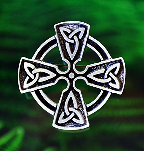 Celtic Cross Brooch Pin with Trinity Knot - Celtic, Medieval, Pewter