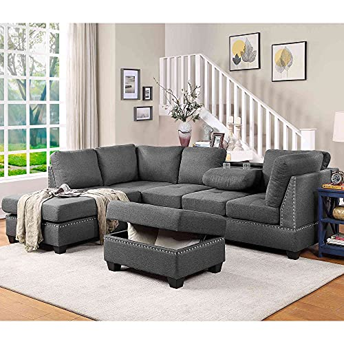 Cotoala Reversible Sectional Sofas, Grey
