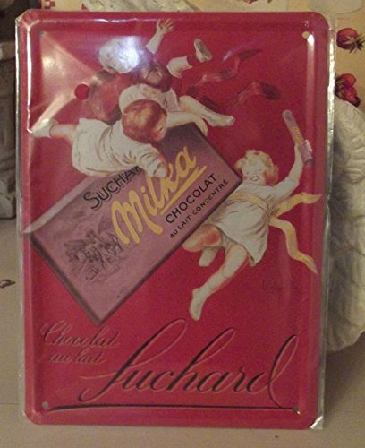 Carte Plaque Métal Pub Déco - Suchard Milka Rouge - 15 x 21 cm