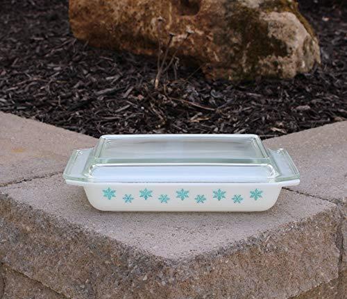Pyrex Blue Snowflake #548 Rectangular Casserole Baking Dish Pan Space Saver & Lid 1-1/4 Qt.