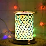 UNISOPH Bruciatore a Cera per aromaterapia, bruciatore a Cera per Cera elettrica da 40 W 110-240 V Lampade elettriche a Fusione a Cera con Luce sensibile al Tocco e lampadine G9 (Motivo a Rombi Blu)