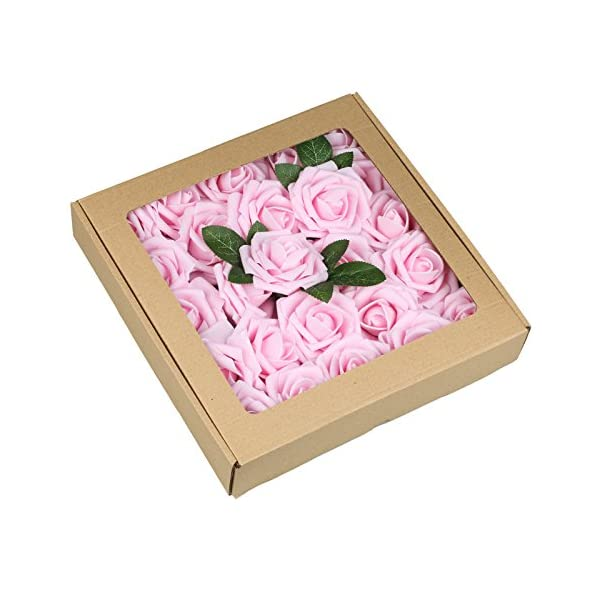 Vlovelife Artificial Flowers with Stem, 25pcs Baby Pink Real Looking Roses, Fake Rose Flowers with Stem for DIY Wedding Bouquets Centerpieces Arrangements Birthday Baby Shower Home Party Decor