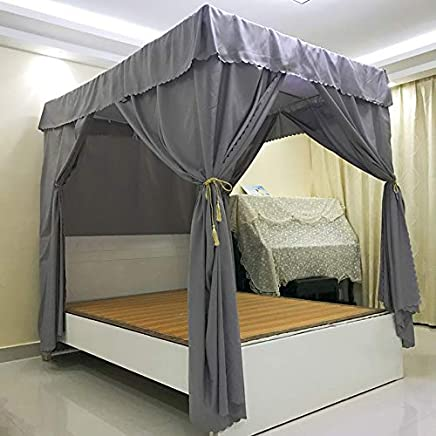 Mengersi Solid Four Corner Post Bed Curtain Canopy Mosquito Net for Boys Kids (Queen,  Gray)