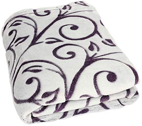 Betz Manta Colcha Cubrecama acogedora y súper Suave con zarcillos tamaño 140x190cm de Color Lila
