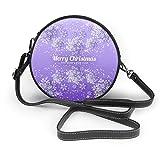 Bolso de mano con diseño de copo de nieve de Navidad sobre fondo violeta para mujer, de piel sintética, con cremallera, redondo, para trabajo, viajes, citas, personalizable