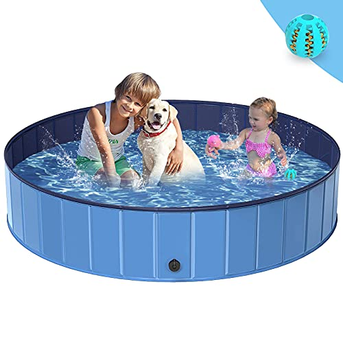 Dog Paddling Pool - BESTKEE Dog Pools Foldable Swimming Pool for Pets Puppy Kids, PVC Non-Slip Bath Tub Plastic Paddling Pool Small Lagre, Gift with Dog Toy Ball