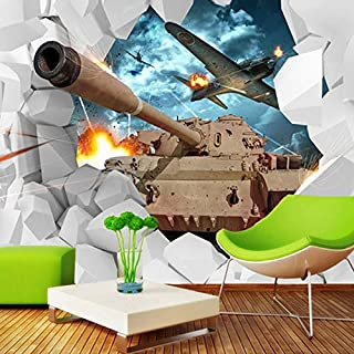 Custom Mural 3D Stereoscopic Tanks Wall Paper Military Themed Wallpaper Creative Personality Aircraft Back Photo Wallpaper Cchpfcc-200X140CM