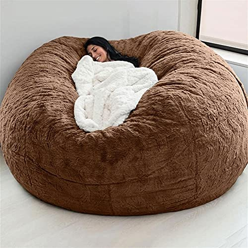 AQHXLS 7ft Bean Bag Chair,No Filler Giant Fur Bean Bag Cover Soft Fluffy Fur Portable Living Room Sofa Bed (About 3 Cubic Meters of Filling) Removable (Color : Brown)