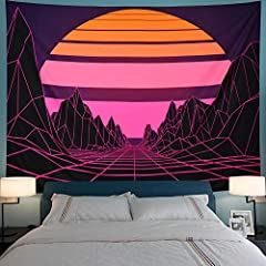"""TAPESTRY SIZE: M-51.2""""H x 59.1""""W; L-59.1""""H x 78.7""""W; XL- 92.5""""W× 70.8""""H. TAPESTRY MATERIAL: The sun tapestry is made of lightweight polyester fiber, soft and easy to hang. FUTURISTIC DESIGN: This retro neon landscape tapestry with bright color, clean..."""