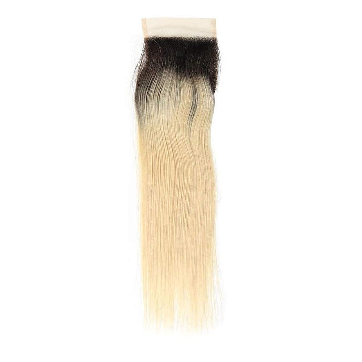 結婚式かすれた辛いBOBIDYEE ブラジル髪ブロンド織り1B / 613#ストレート人毛エクステンション13X4フリーパーツレース前頭女性複合かつらレースかつらロールプレイングかつら (色 : Blonde, サイズ : 10 inch)