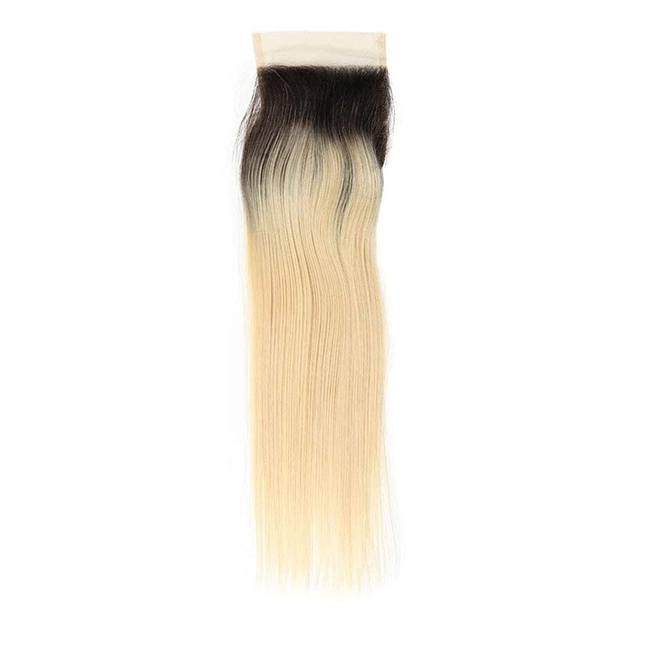 ルーム永久狂信者BOBIDYEE ブラジル髪ブロンド織り1B / 613#ストレート人毛エクステンション13X4フリーパーツレース前頭女性複合かつらレースかつらロールプレイングかつら (色 : Blonde, サイズ : 10 inch)