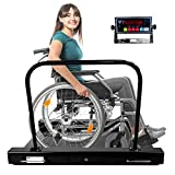 PEC Wheelchair Scale with Dual Ramp and Handle Rail, Multi-Purpose Weighing Equipment, Easy Moving and Loading, 1000 x 0.2 lb