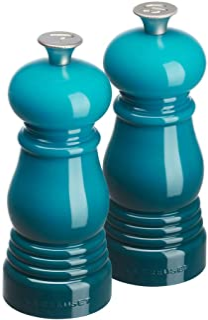 Le Creuset Liten kvarnuppsättning, salt och pepparkvarn, ABS-plast, varje 5 x 5 x 12,1 cm, keramisk kvarn, karibisk (turkos)