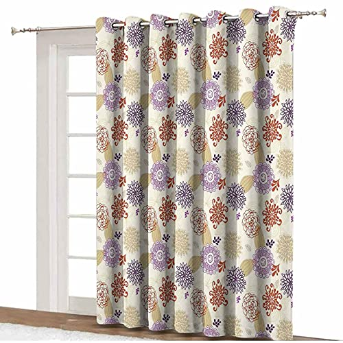 Beige Blackout Patio Door Curtains,Colored Ornate Flowers and Leaves Blossoms Ethnic Bohemian Floral Swirls Art Deco Decorative Thermal Patio Door Curtain Panel,8.3'x9',for Living Room & Shared Office