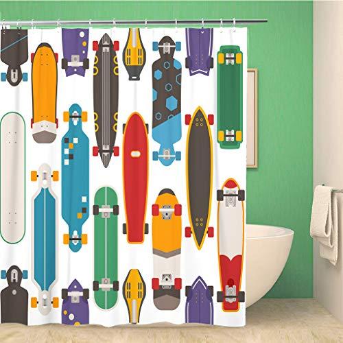 Awowee Decor Duschvorhang, Skateboard-Muster, Verschiedene Skate-Decks in flachen Skateboard-Boards 180 x 180 cm, Polyester Stoff, wasserfest, mit Haken für Badezimmer