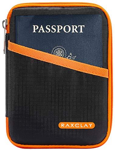 Porta Documenti Compatto RFID da Viaggio Passaporto Portafoglio Custodia Carte Credito Uomo Donna 2a Generazione Nuovo Mod.2020 Monete - 13 Scomparti Piccolo Organizer Schermato Blocco - RAXCLAY®