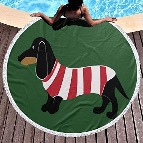 Rundes Strandtuch & Mädchen, mehrfarbiger Dackel Hippie Happy Youth Handtuch Extra große sandfeste Decke Yogamatte mit Quasten 59 '