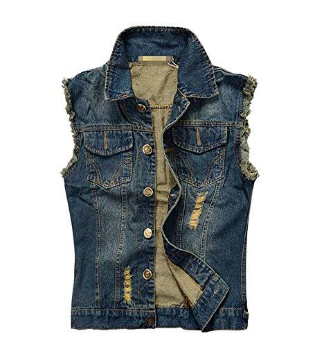 Herren Jungen Weste Rmellose Jeansweste Biker Jeansjacke Modernas Lässig Fashion Denim Slim Fit Outwear Mantel Herbst Winter (Color : Blau, Size : L)