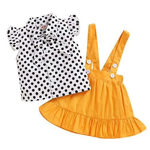 Tianhaik 2 Stück Kleinkind Baby Mädchen Gepunktete Kleidung Set Sommer Baumwolle Rüschenärmel Hemd + Gelben Strapsrock