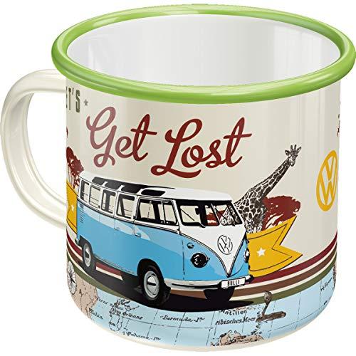 Nostalgic-Art 43211 Retro Emaille-Becher Volkswagen Bulli T1 – Let's Get Lost – Geschenk-Idee für VW Bus Fans, Camping-Tasse, 360 milliliters, Vintage Design