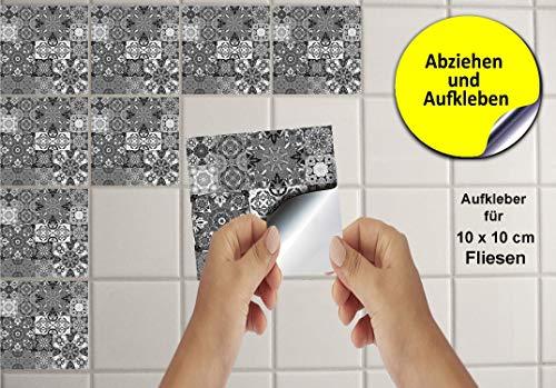24 Fliesenaufkleber für Küche und Bad Mosaik Wandfliese Aufkleber für 10x10 cm Fliesen Fliesen-Aufkleber Folie Deko-Fliesenfolie für Küche u. Bad