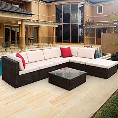 Furniwell 7 Pieces Patio Furniture Sectional Set Outdoor Wicker Rattan Sofa Set Backyard Couch Conversation Sets with Pillow, Cushions and Glass Table (Beige)