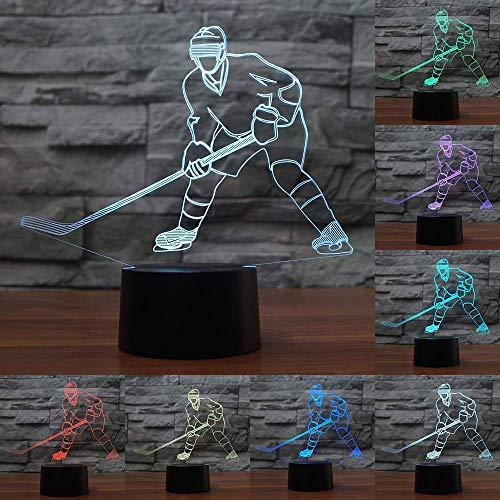 Ybzx Lámpara de Mesa para Dormir en 3D, Reproductor de Hockey sobre Hielo LED, Accesorio de luz de Modelado, luz de Noche, lámpara de Dormitorio de bebé USB, decoración, Regalos para niños