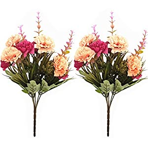 BECOR Fake Flowers Bouquet Artificial Silk Carnation Plant with Leaves for Wedding Home Party Table Decor, 10 Flowers 5 Stems Per Bunch, 2 Bunch Per Pack, Red & Orange