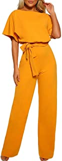 Jumpsuits for Women Short Sleeve Solid Fashion Loose Casual Playsuit Clubwear Straight Leg Jumpsuit with Belt