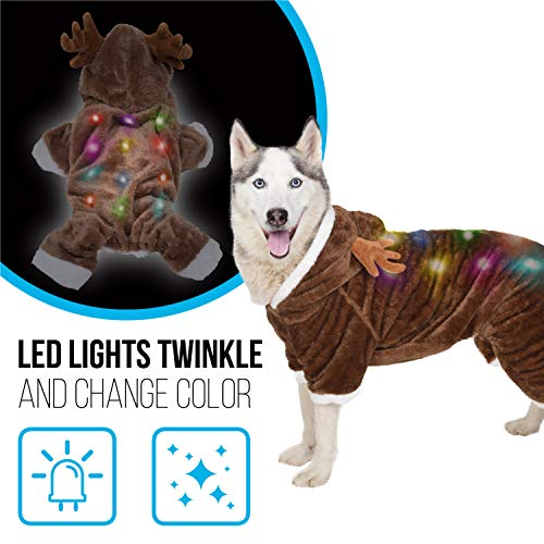 K9 Casuals Ultra Soft Reindeer Dog Costume | Christmas Dog Costume with Blinking Lights | Light-up Christmas Dog Sweater for Large Dogs (and Small, Medium Dogs) | Christmas Dog Clothes | Size L