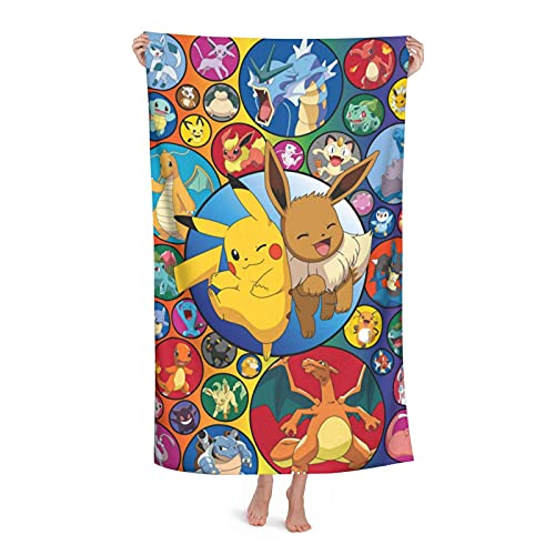 Japanese Anime Towels Quick-Drying Super Absorbent Beach Towel for Travel Pool Swimming Bath 52x32 in